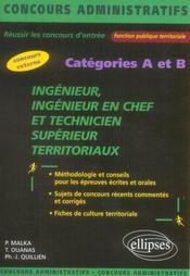 Ingenieur Ingenieur En Chef Et Technicien Superieur Territoriaux Categories A Et B Concours Externe - Intérieur - Format classique