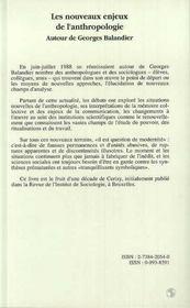 Les Nouveaux Enjeux De L'Anthropologie ; Autour De Georges Balandier - 4ème de couverture - Format classique