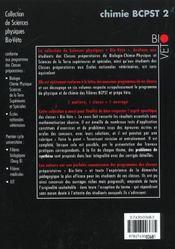 Chimie Bcpst T.2 ; Cours Et Tests D'Application ; 5e Edition - 4ème de couverture - Format classique