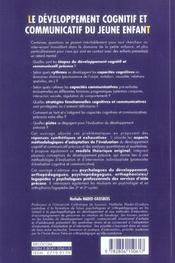 Developpement Cognitif Et Communicatif Du Jeune Enfant (Le) - 4ème de couverture - Format classique