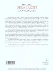 Histoire de la laicite a la francaise - 4ème de couverture - Format classique
