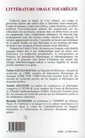 Litterature Orale Touaregue - 4ème de couverture - Format classique