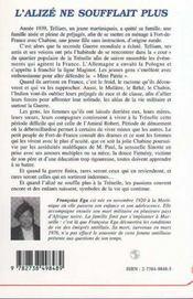 L'Alize Ne Soufflait Plus ; Antan Robe - 4ème de couverture - Format classique