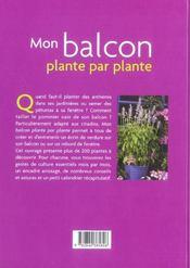 Mon balcon, plante par plante - 4ème de couverture - Format classique