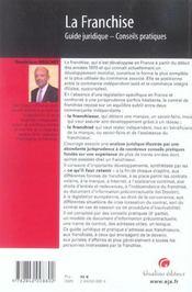 La franchise. guide juridique et conseils - 4ème de couverture - Format classique