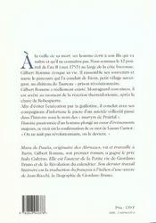 Gilbert Romme Naissance Et Mort Dun Revolutionnaire - 4ème de couverture - Format classique
