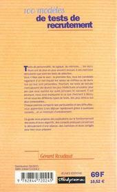 Les candidatures gagnantes t.276 ; 100 modeles de tests de recrutement - 4ème de couverture - Format classique