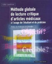Methode Globale De Lecture Critique D'Articles Medicaux - Couverture - Format classique
