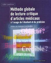 Methode Globale De Lecture Critique D'Articles Medicaux - Intérieur - Format classique