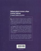 Methode Globale De Lecture Critique D'Articles Medicaux - 4ème de couverture - Format classique