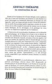 Gestalt-thérapie, la construction du soi - 4ème de couverture - Format classique