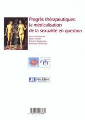 Progres therapeutiques medicalisation sex - 4ème de couverture - Format classique