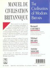 Manuel de civilisation britannique ; 1e cycle universitaire ; 2e edition - 4ème de couverture - Format classique