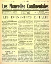 Nouvelles Continentales (Les) N°131 du 18/09/1943 - Couverture - Format classique