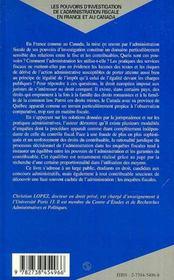 Les Pouvoirs D'Investigation De L'Administration Fiscale En France Et Au Canada - 4ème de couverture - Format classique