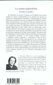 La Nation Aujourd'Hui ; Formes Et Mythes - 4ème de couverture - Format classique