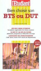 Bien Choisir Son Bts Ou Son Dut ; Edition 2003 - Intérieur - Format classique