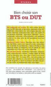 Bien Choisir Son Bts Ou Son Dut ; Edition 2003 - 4ème de couverture - Format classique