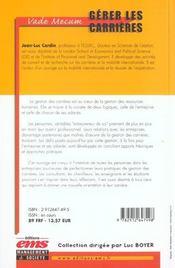 Gerer Carrieres Vade Mecum - 4ème de couverture - Format classique