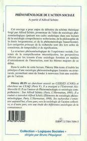 Phenomenologie De L'Action Sociale ; A Partir D'Alfred Schutz - 4ème de couverture - Format classique