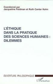 L'Ethique Dans La Pratique Des Sciences Humaines ; Dilemmes - Intérieur - Format classique
