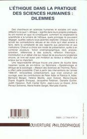 L'Ethique Dans La Pratique Des Sciences Humaines ; Dilemmes - 4ème de couverture - Format classique
