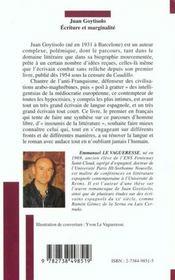 Juan Goytisolo ; Ecriture Et Marginalite - 4ème de couverture - Format classique