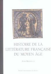 Histoire De La Litterature Francaise Au Moyen Age - Intérieur - Format classique