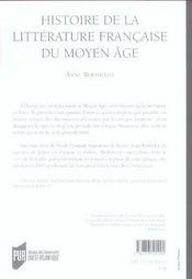 Histoire De La Litterature Francaise Au Moyen Age - 4ème de couverture - Format classique