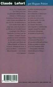 Claude Lefort, la découverte du politique - 4ème de couverture - Format classique