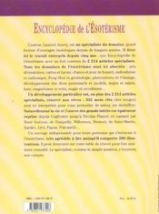 Encyclopedie De L'Esoterisme - 4ème de couverture - Format classique