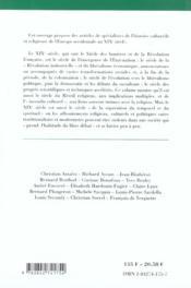 Religion Et Culture Dans Les Societes Et Dans Les Etats Europeens De 1800 A 1914 - 4ème de couverture - Format classique