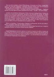 Joseph Balsamo Dit Comte De Cagliostro - 4ème de couverture - Format classique
