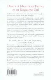 Droits Et Libertes En France Et Au Royaume-Uni - 4ème de couverture - Format classique