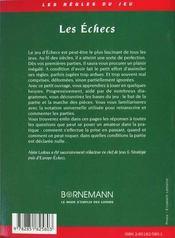 Les Echecs ; Regles Du Jeu Et Commentaires - 4ème de couverture - Format classique