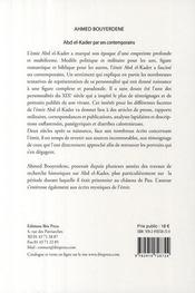 Abd El-Kader par ses contemporains ; fragments d'un portrait - 4ème de couverture - Format classique
