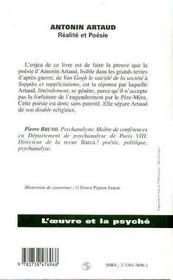 Antonin Artaud ; réalité et poésie - 4ème de couverture - Format classique