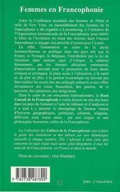 Femmes En Francophonie - 4ème de couverture - Format classique