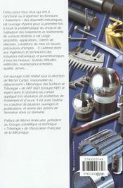 Guide d'emploi des traitements de surface appliques aux problemes de frottement - 4ème de couverture - Format classique