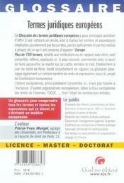 Glossaire termes juridiques europeens - 4ème de couverture - Format classique