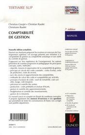 Comptabilité de gestion ; manuel (7e édition) - 4ème de couverture - Format classique