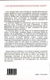 Oeuvre Romanesque De Jean-Marie Adiaffi - 4ème de couverture - Format classique