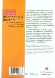 Dictionnaire pratique informatique, internet et nouvelles technologies de l'information et de la communication - 4ème de couverture - Format classique