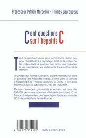 CENT QUESTIONS SUR L'HEPATITE C - GUIDE PRATIQUE 4e EDITION - 4ème de couverture - Format classique