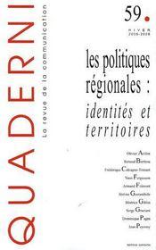 Quaderni N.59 ; Les Politiques Régionales : Identités Et Territoires - Couverture - Format classique