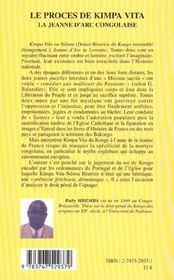 Le Proces De Kimpa Vita ; La Jeanne D'Arc Congolaise - 4ème de couverture - Format classique