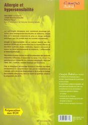 Allergie Et Hypersensibilite - 4ème de couverture - Format classique