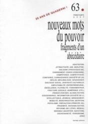 Quaderni N.63 ; Nouveaux Mots Du Pouvoir ; Fragments D'Un Abécédaire - Couverture - Format classique