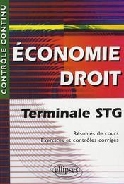 Controle Continu ; Economie-Droit ; Terminale Stg - Intérieur - Format classique