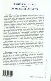 Le Theme Du Voyage Dans Les Mille Et Une Nuits: Du Magrebh A La Chine - 4ème de couverture - Format classique